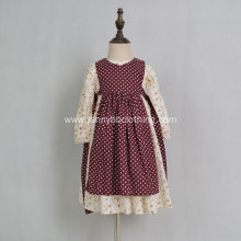 Cotton floral long sleeve apron girl dress
